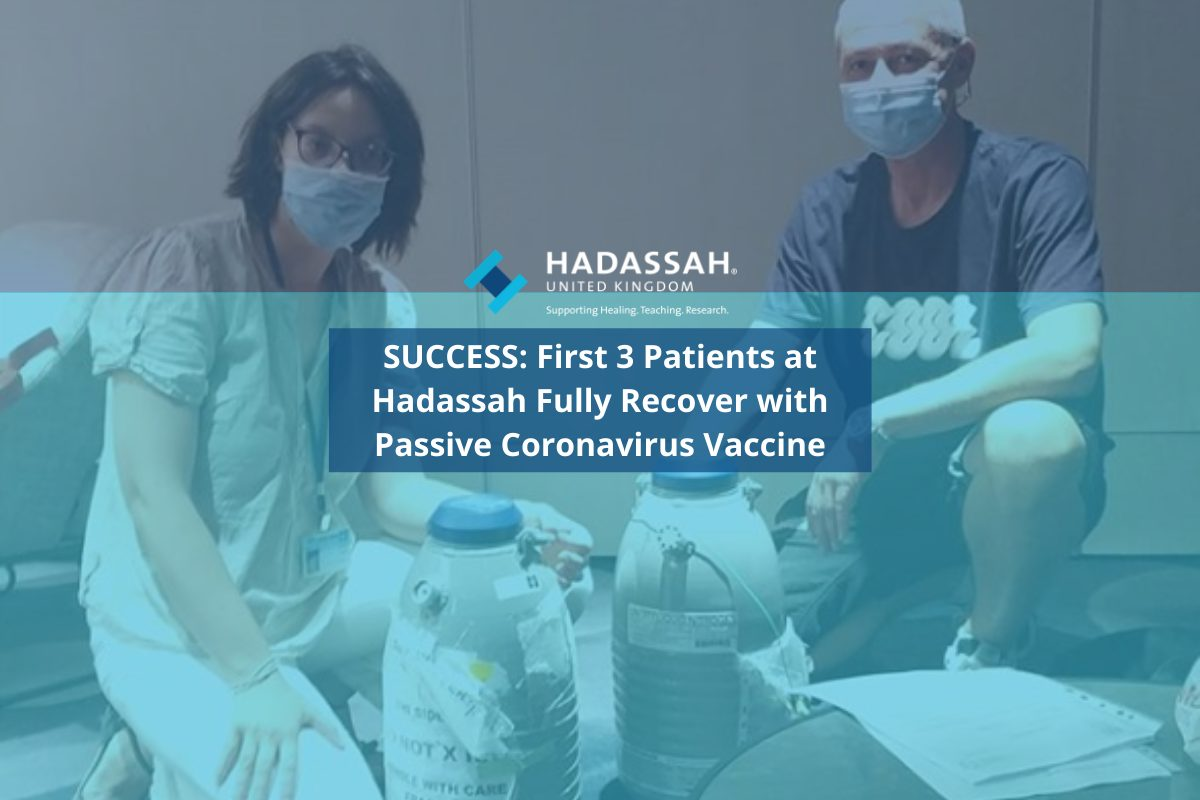 Success: First 3 Patients at Hadassah Recover with Passive Coronavirus Vaccine